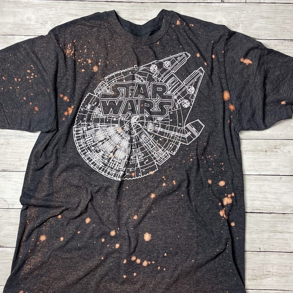 Star Wars Shirt Bleached Upcycled XL